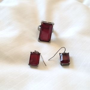 Jewelry - Set of Red and Gunmetal Ring and Earrings